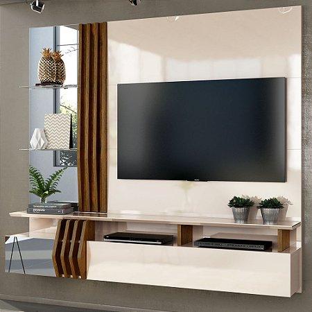 "Painel Home Suspenso LORIS para TV 55""  100% MDF Creme/Tronco Ripado - Dj Móveis"