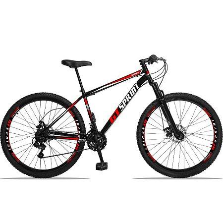 """Bicicleta Aro 29 GT SPRINT 21v Freio a disco Mecânico PRETA/VERMELHA - Quadro 17"""""""