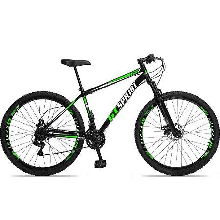"""Bicicleta Aro 29 GT SPRINT 21v Freio a disco Mecânico PRETA/VERDE - Quadro 17"""""""