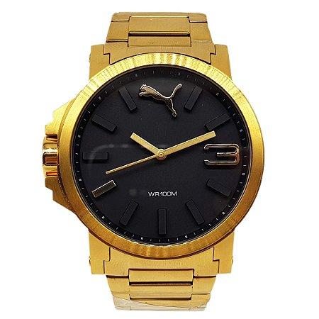 4727073f3b851 Relógio Masculino Puma Dourado 103461N - Fundo Preto - Armazém ...