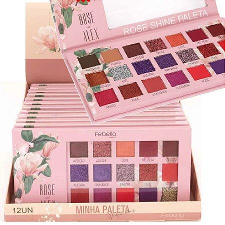 Paleta de Sombras Rose Shine Febella PSO30315 - Display C/ 12 Unid