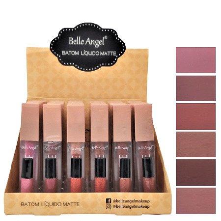 Belle Angel - Batom LIquido Matte Nude Luxo B082A - Display C/ 24 Unid
