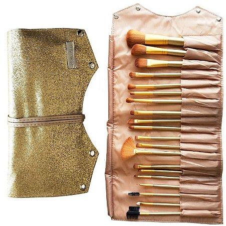 KIt de Pincéis 20 Unidades com Bolsa de Luxo  - 12 Kits ( Dourado e Rosa )