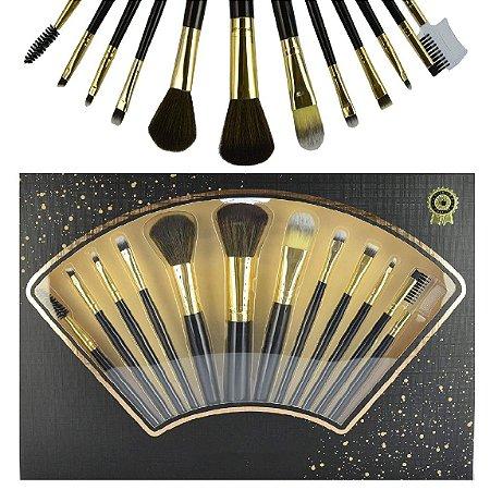 Meily´s - Kit 12 Pincéis Para Maquiagem Luxo MKP-109 ( Preto )