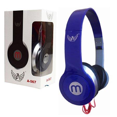 Importados - Fone De Ouvido Azul Headphone A-567 Dobrável Cabo 1m