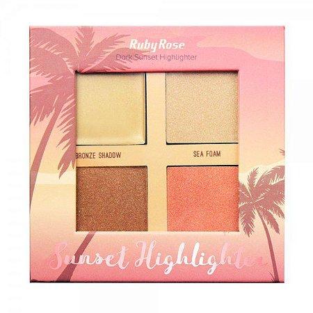 Box Iluminador Sunset Highlighter Dark Ruby Rose HB 7504 ( 12 Unidades )