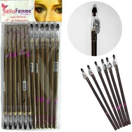 Lápis delineador Universal para sobrancelhas com apontador Bella Femme ( 12 Unidades )
