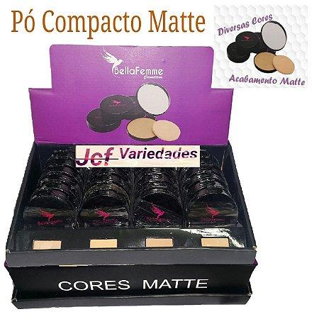 Pó Compacto Matte Bella Femme com Provador Cores Negras TR3003C - Display com 24 unidades