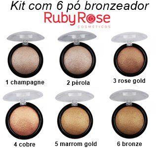 Pó Bronzeador Iluminador Ruby Rose HB7213 - 6 Unidades