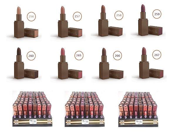 """Batom Matte """" Mais Nude """" Max Love ( Box Expositor com 64 Unidades, 08 Cores, 08 Provadores )"""