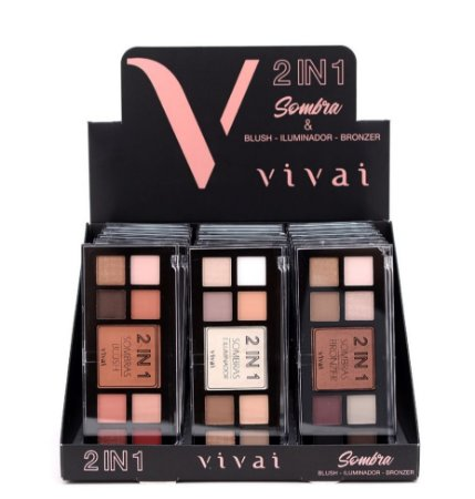 Kit de Maquiagem Vivai 2 em 1 ( Sombras e Blush, Iluminador ou Bronzer ) 24 Unidades