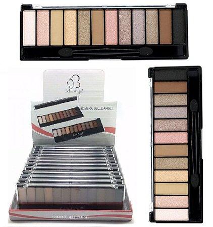 Paleta de Sombras Matte e Cintilantes 12 Cores B012-2 / T014 ( Display 12 Unidades )