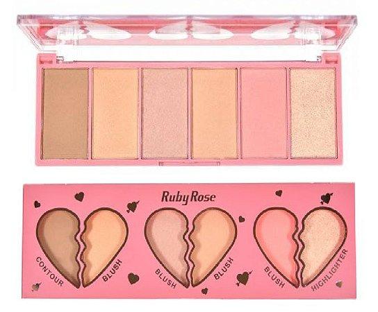 Paleta Face Kit Heart Blush Contorno e Iluminador Ruby Rose HB 7520