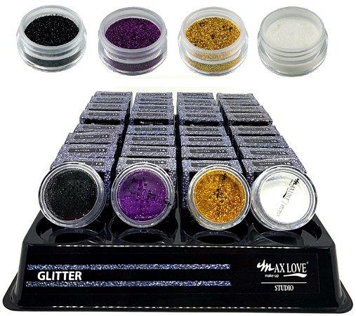 Sombra Glitter em Pó Solto Max Love ( 32 Unidades + Provadores )