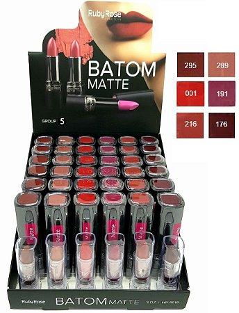 Batom de Luxo Matte Ruby Rose HB8518 Group 5 ( 36 Unidades + Provadores )