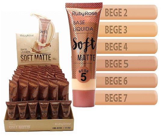 Base Soft Matte Ruby Rose Tons Mèdios HB8050 - 02 Bege ( 48 Unidades + Provadores )