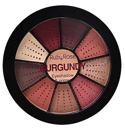 Paleta de 9 Sombras e Primer Burgundy Ruby Rose HB9986 - 9 (12 Unidades )