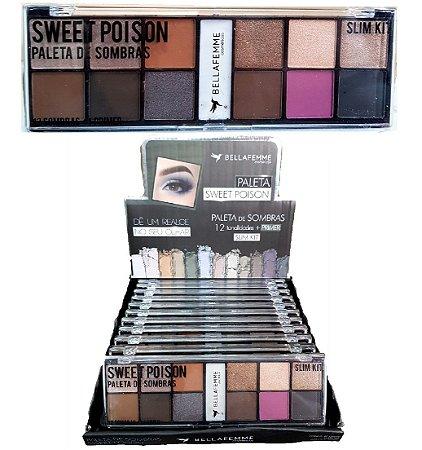 Paleta de 12 Sombras e Primer Fixador Sweet Poison BF10056C ( 12 Unidades )