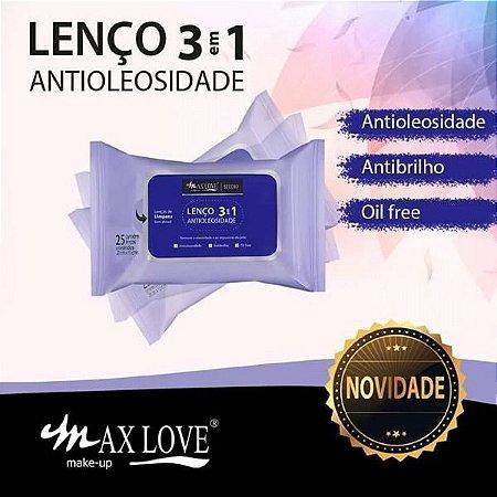 Lenço Demaquilante  Antioleosidade 3 em 1 Max Love - Kit com 12 Pacotes