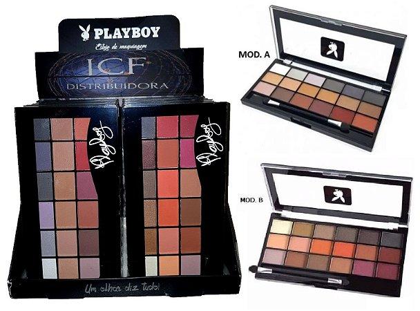 Paleta de Sombras Matte e 3D 18 Cores  Playboy HB89667PB ( 12 Unidades )