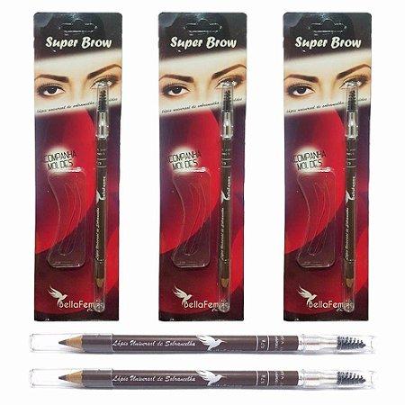 Kit Super Brow para Sobrancelha com Lápis, Escova e 3 Moldes Bella Femme BF10049 ( 12 Unidades )