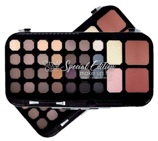 Paleta de  28 Sombras , Blush e Iluminador City Girl CG129 Cores Neutras