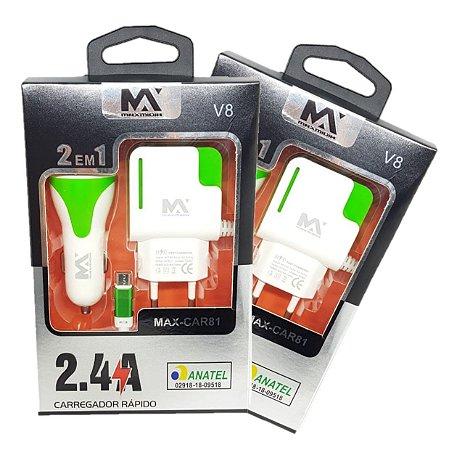 Carregador Rápido para Celular 2 EM 1 Veicular e Parede Tipo V8 Max-Car81 ( 10 Unidades )