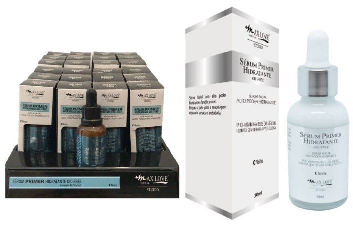 Display Novo Serum Alto Poder HIdratante Hidratante Noite Max Love ( 24 Unidades + Provador )