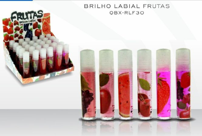 Display Brilho Labial Frutas Roll-on Queen Fashion Sabores Sortidos ) 30 Unidades )