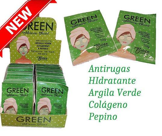 Máscara Facial Antirugas e Hidratante Pepino Green Beleza Juvenil ( 50 Unidades )