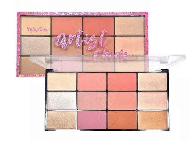 Paleta de Blush e Iluminador Artist Cheek Ruby Rose HB-7219 ( 03 Unidades )