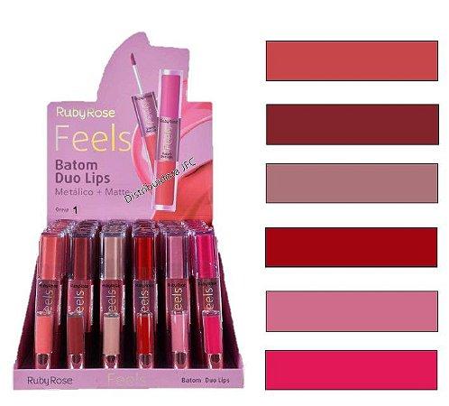 Batom Duo Lips Feels Ruby Rose HB8225-01( 06 Unidades )