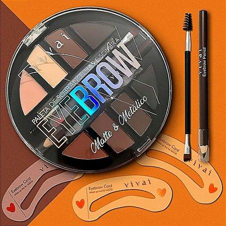 Vivai - Kit Eye Brow Sobrancelhas Sombras Moldes Pincel Lápis 4016 ( 12 Unidades )