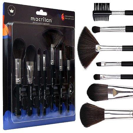 Macrilan - Kit 7 Pincéis Para Maquiagem  KP9-2A ( 12 Unidades )