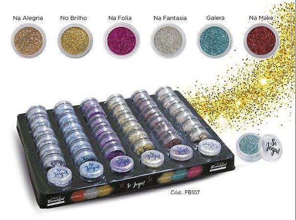 Sombra Glitter Solto em Pó Face beautiful - Kit com 6 Unidades