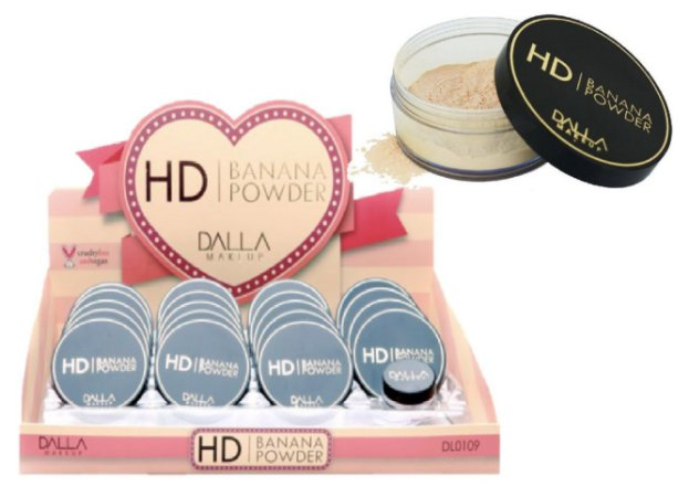Pó Facial Vegano HD Banana Powder Dalla Makeup DL0109 - Display com 19 unidades + Prov