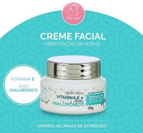 Creme Facial Hidratante com Vitamina E e Ácido Hialurônico Belle Angel I015