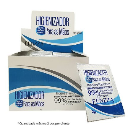 Álcool Gel Higienizador de Mãos com Aloe Vera Sachê 2g - Box c/50uni Fenzza FZ79001