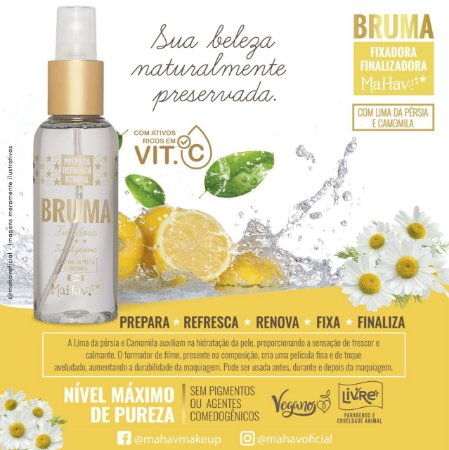 Bruma Facial Fixadora Revitalizante Vitamina C Mahav - Kit c/ 6 Unidades