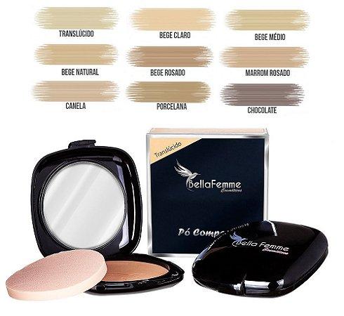 Bella Femme - Pó Facial Compacto com Espelho Luxo BF10037 - Kit com 12 Unidades