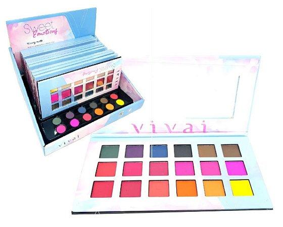 Paleta de Sombras Sweet Emotions Super Pigmentada Vivai 4008 - Display com 12 unidades e Provadores