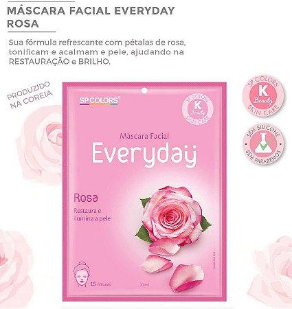 Máscara Facial Koreana SP Color Rosa Restaura e Ilumina EV001 - Kit com 10 Unidades
