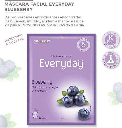 Máscara Facial Koreana SP Color Blueberry ( Mirtilo ) Purificante EV005 - Kit com 10 Unidades