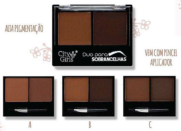Duo de sombra para sobrancelhas com pincel CG136 - Kit com 3  unidades