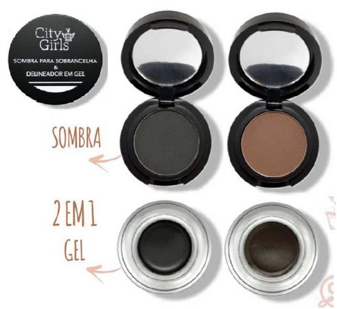 Sombra de sobrancelhas e delineador gel  CG066 - Kit com 2 Unidades ( preto e marrom )