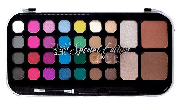 City Girls - Kit de Maquiagem Especial Edition Sombras, Blush e Iluminador CG129 Colorida
