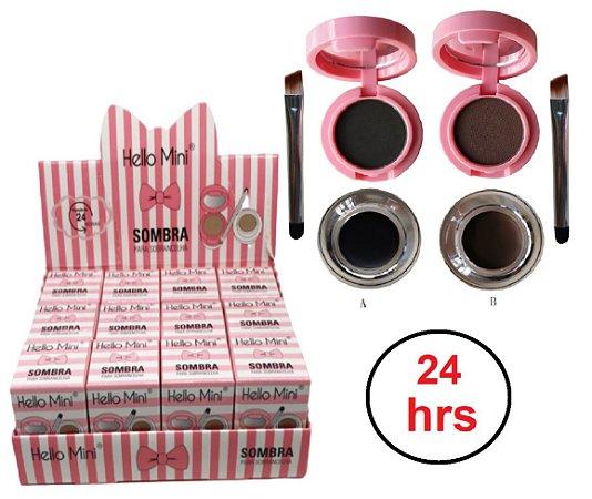 Kit Duo Sombra de sobrancelhas e Gel delineador Hello Mini Y122 - Display com 12 Unidades