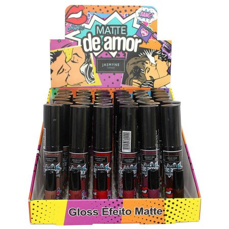 Gloss Labial Efeito Matte Jasmyne Matte de Amor V6005 – Display com 36 unidades  + Prov