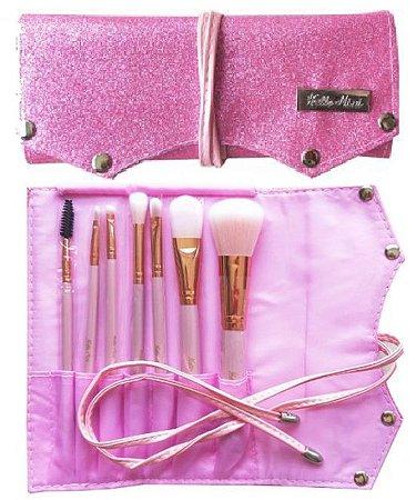 Kit  de 7 Pincéis com Bolsa de Luxo Rosa Hello Mini KT75-3