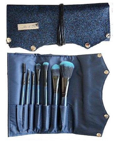 Kit  de 7 Pincéis com Bolsa de Luxo Azul Hello Mini KT75-2 - Pacote com 6 Kits